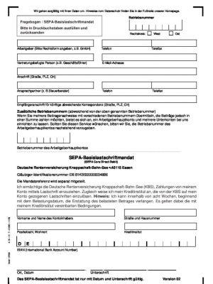 Minijobzentrale Fragebogen Sepa Basislastschriftmandat DE
